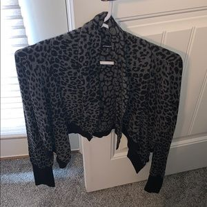 Express Snow Leopard crop sweater